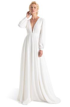 Women's Joanna August Floyd V-Neck Long Sleeve Gown, Size 0 - White Wrap Wedding Dress, Making A Wedding Dress, Western Wedding Dresses, Wedding Dress Sizes, Best Wedding Dresses, Bridal Dresses, Bridesmaid Dresses, Wedding Gowns, Joanna August