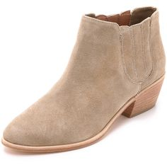Joie Barlow Suede Booties ($325) ❤ liked on Polyvore featuring shoes, boots, ankle booties, cement, joie booties, slip on boots, suede leather boots, slipon boots and pull on boots