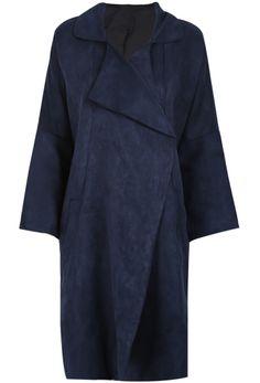 Blue Lapel Long Sleeve Loose Suede Coat US$47.54