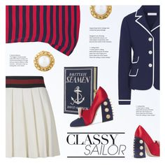 """""""Classy Sailor"""" by redflowergirl ❤ liked on Polyvore featuring Miu Miu, Tory Burch, Gucci, Olympia Le-Tan and Chanel"""