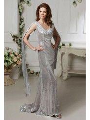 Sequin Fabric V-neck Neckline Bodice Full Length Prom Dress