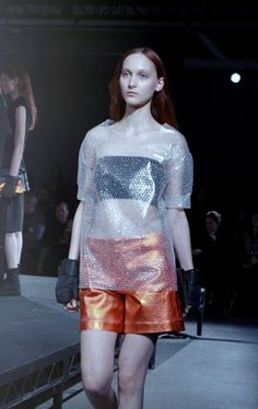 Bubble wrap t-shirts at MM6 Maison Martin Margiela AW14 NYFW. More images here: http://www.dazeddigital.com/fashion/article/18814/1/mm6-maison-martin-margiela-aw14