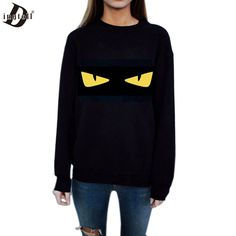 Dingtoll Casual Women Black Cartoon Yellow Eye Sweatshirt For Lady Long Sleeve Harajuku Hoodies Pullovers WMH84