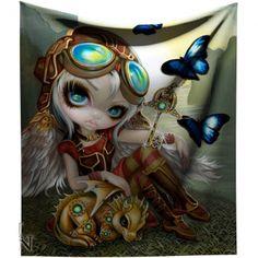 Jasmine Becket-Griffith Clockwork Dragonling Steampunk Throw Blanket