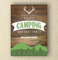 Printable Birthday Invites, Camping, Camp Out. $8.00, via Etsy.