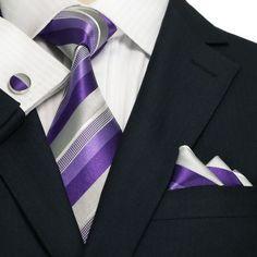 Purple,Gray and White Stripe Necktie Set JPM18A23 – Toramon Necktie Company