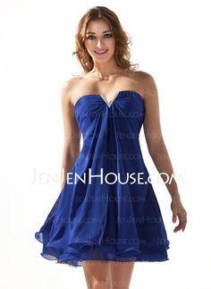 Homecoming Dresses - $89.99 - A-Line/Princess Sweetheart Short/Mini Chiffon Homecoming Dress With Ruffle Beading (022020616) http://jenjenhouse.com/A-Line-Princess-Sweetheart-Short-Mini-Chiffon-Homecoming-Dress-With-Ruffle-Beading-022020616-g20616