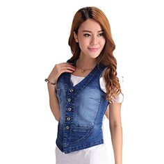 Eternal Women Winter Spring Cotton Sleeveless Jeans Denim Vest Jacket Outerwear Clothes S Vest8 *** Visit the image link more details.