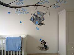 babykamer muurschildering voor een jongen met beertje en konijntje