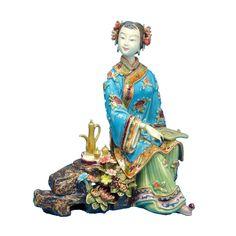 Belleza chino Estatua de Imitación Antigua Escultura Artes de la Porcelana de Cerámica Figura Figura de Colección Hechos A Mano para la Navidad(China (Mainland))