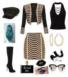 """""""Untitled #59"""" by baconkat on Polyvore featuring Balmain, Jimmy Choo, Christian Dior, Sweet Romance, River Island, Fragments, Miss Selfridge and Lime Crime"""