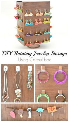 diy rotating jewelry storage using cereal box paper towel tube, crafts, how to, organizing, repurposing upcycling Jewellery Storage, Jewellery Display, Jewelry Organization, Jewellery Stand, Body Jewellery, Jewelry Holder, Diy Jewelry, Necklace Holder, Jewelry Box