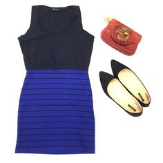 Forever 21 dress 2 part looking. Top looks like a tank top with a pocket. Bottom is navy blue and striped. Some piling on the bottom Forever 21 Dresses