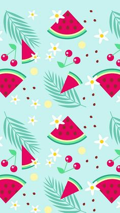 Free printable printables vector summer watermelons cherry and flower pattern Art digital paper Hand drawn decor idea ideas party for kids chidren clip art clipart design decore scrap book scrapbooking supples ideas aesthetic scrapbook layouts idea ideas Summer Backgrounds, Cute Wallpaper Backgrounds, Pretty Wallpapers, Mobile Wallpaper, Iphone Wallpaper, Computer Wallpaper, Fruit Pattern, Pattern Art, Gift Wrapper