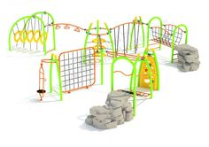 Noahs Park and Playgrounds - Star Fitness Structure, The Star Fitness Structure is a great way to build exercise and activity into your kid's lifestyle. This unit features a variety of climbers great for boosting upper and lower body strength, social skills and physical confidence. (http://www.noahsplay.com/playground-equipment-needs/developer/star-fitness-structure/)
