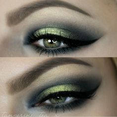Golden #olive #smokey eye: shimmery light green in the center, smoked out with darkened grey | #makeup @tangerine_tea_x