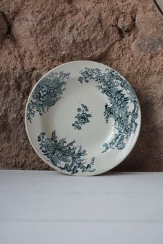 Antique French Blue Porcelain Soup Bowl, Transferware by FarmGateVintage on Etsy