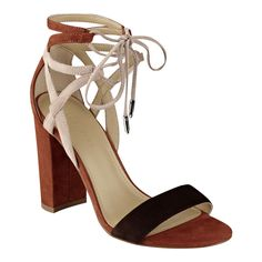 f3d43bbe862 Fatima Heel. Lace Up SandalsBrown Block ...