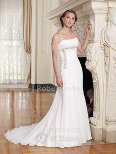 Robe de mariée sans bretelle ornée de perles  traîne chapelle en satin et chiffon€117.58