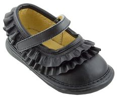 Wee Squeak Black Ruffle Mary Janes $29.95 http://www.meandmyfeet.com/weesqueak-black-ruffle-mary-janes #Infant #Toddler #Child #Black #Ruffle #MaryJane #Shoes #Kids