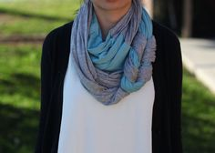 Braided Jersey Infinity Scarf in Blue and Gray