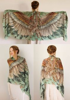 Silk Scarf Boho Clothing Bohemian Clothing Gift For Her Women Shawl Sarong Women Scarf Festival Wrap Printed Festival Clothing Boho Outfits, Owl Scarf, Feather Scarf, Hippie Stil, Hippie Man, Burning Man Outfits, Mode Boho, Festival Outfits, Festival Clothing