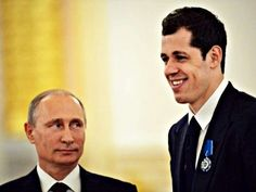 Putin staring at Malkin. Putin's either gonna put the moves on Malkin or is thinking of having Malkin bumped off for making Putin look so short. Pens Hockey, Hockey Teams, Ice Hockey, Winter Olympic Games, Winter Olympics, Ted Lindsay, Evgeni Malkin, Stanley Cup Finals