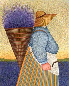 "Lowell Herrero (American, born 1921) ~ ""Lady with Sickle"""