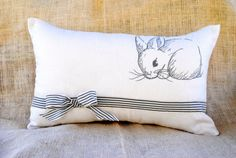 sweet bunny pillow, throw pillow, linen pillow cover, custom embroidery, personalized pillow, nursery decor, baby gift, specialized ribbon on Etsy, $49.00