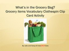 This is a full bundle of 28 grocery vocabulary clip cards, great practice for learning the names of common grocery items!  Simply print, cut and laminate the cards.  Students can use clothespins, paperclips, or a dry erase marker to indicate their answer.