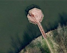 According to the Internet, if you look closely at this pier in the Netherlands on Google Earth, you can see a murderer disposing of his victim's body in a lake.