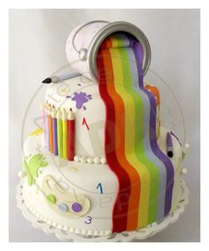 "Previous Pinner wrote, ""Artist Rainbow Cake by Arte da Ka. #rainbow #cake. Great for a rainbow-themed party or art-themed party!"""