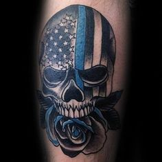 Old School Thin Blue Line Skull With Rose Flower Mens Arm Tattoo