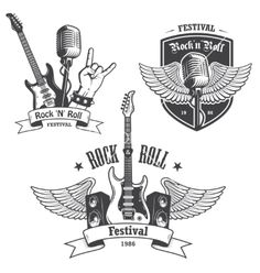 Set of rock and roll music emblems. Set of rock and roll music emblems, labels, , Music Logo, Art Music, Tatouage Rock And Roll, Tattoo Musica, Rock N Roll Tattoo, Pinup, Music Doodle, Guitar Logo, Heavy Rock