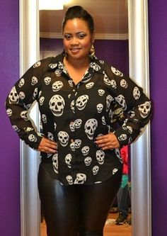 New Plus Size Black Button Down Top with White Skulls 1X 2X 3X.....i need this shirt