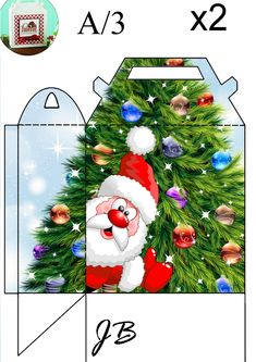 Whacky Santa Claus gift bag / box by JB. Print two and glue together. I have a matching gift tag to go with this.
