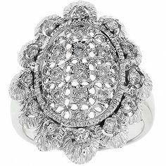 0.50 Cttw F SI IGL Certified Round Diamond Cocktail Ring 14K White Gold #Cocktail #Ring #Diamond #Gold #Certified
