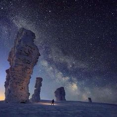 """""""Last night within my heart I heard your whisper of love and my heart is still quivering to know You were there...""""   The Milky Way streaks across the desert sky of White Desert. Egypt  Just come for the stars..."""