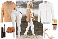 All in white with a touch of beige.. Vrouwelijk en stylish. Beige blazer combineren met white outfit. White jeans met een witte blouse. Met langere, beige blazer met stoere, bruine riem mét studs.