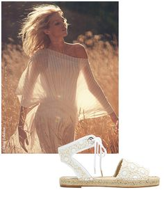The boho wedding trend has reached bridal shoes, as espadrilles make their big fashion comeback with delicate lace, broderie anglaise, ankle straps and jewel embellishment. Fifteen of the best for boho beach brides.