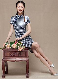 Grid Short Linen Cheongsam / Qipao Dress
