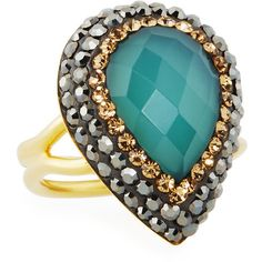 Native Gem Jewelry Ilume Chalcedony & Crystal Adjustable Cocktail Ring ($46) ❤ liked on Polyvore featuring jewelry, rings, blue, 14 karat gold ring, 14k ring, statement rings, chalcedony ring and crystal cocktail ring