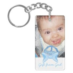 Recently Sold! Thank you! Customize it with your Baby boy Photo! Gift from God with Blue bow and Bible verse in the back Rectangle Acrylic Key Chains by #PLdesign #BabyBoy #BabyBoyGift #GiftFromGod
