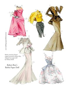 Robert Best Barbie Paper Doll (3 of 5) by Melissa Smith | Here's a little project I finished. This is a Robert Best Barbie paper doll. I used Robert Best's lovely Barbie designs and sketc... | Miss Missy Paper Dolls