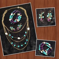 "Necklace Set Great add on to your wardrobe! Chains are silver tone with periwinkle blue, navy and teal beads. Necklace is approximately 20"" end to end. Earrings are approximately 1 1/2"" long. Braclet is stretch. Worn twice. Excellent condition. New York & Company Jewelry"