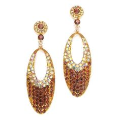 Glamorous Smoked Topaz Brown Crystal Pave Earrings