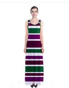 Purple pink Green striped maxi dress #cowcow #fashion #trends #dress
