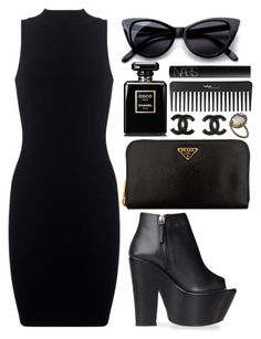 """All black"" by thekidofthe90s ❤ liked on Polyvore featuring ASOS, Chanel, Motel, Prada, Giuseppe Zanotti, Retrò, NARS Cosmetics, Sephora Collection, cat eye sunglasses and ankle boots"