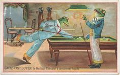 Very  Rare victorian trade card 1890's  Anthropomorphic card Pool Billiard frogs