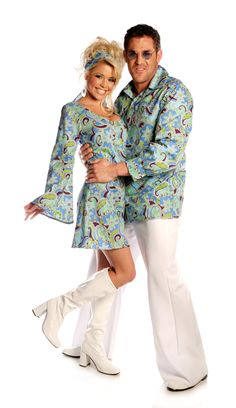 Adult Costumes , Youre gonna catch Saturday Night Fever in this groovy Blue Disco Shirt! Includes polyester collared shirt with psychedeltic pattern and